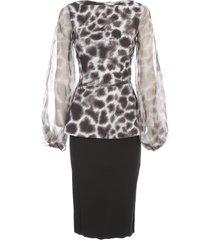la petit robe di chiara boni printed dress boat neck voille sleeve