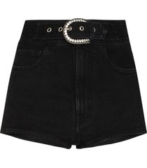 alessandra rich belted high-waisted denim shorts - black