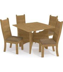 conjunto mesa camomila c/ 4 cadeiras freijã³/caramelo kappesberg bege - caramelo - dafiti