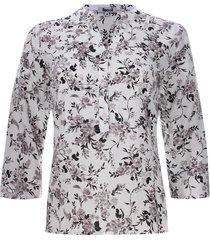 blusa con pechera estampado flores color negro, talla s