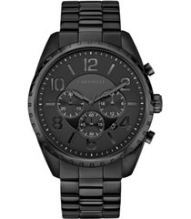 caravelle designed by bulova men's chronograph black stainless steel bracelet watch 44mm