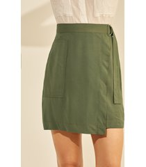 yoins abrigo verde militar diseño para atar diseño falda