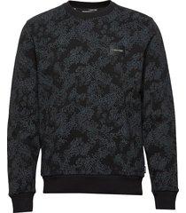 allover printed sweatshirt sweat-shirt tröja svart calvin klein