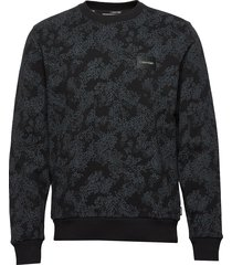 allover printed sweatshirt sweat-shirt tröja svart calvin klein