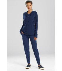 n-power zip hoodie coat, women's, blue, size l, n natori