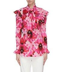 flower print ruffle georgette blouse