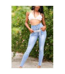sexy hoge taille lichtwash jeans met knopen blauw