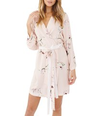 women's plum pretty sugar floral print short robe, size large - pink