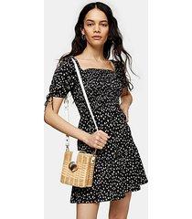 black and white shirred tea mini dress - monochrome