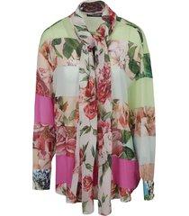 dolce & gabbana floral print scarf detail shirt