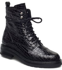 charley croco shoes boots ankle boots ankle boot - flat svart pavement