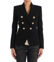 balmain buttons blazer black