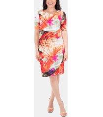 ny collection draped printed shift dress