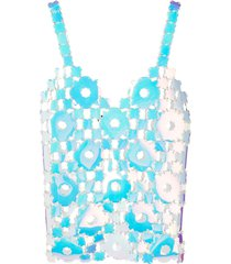 iridescent daisy chain link tank top, white