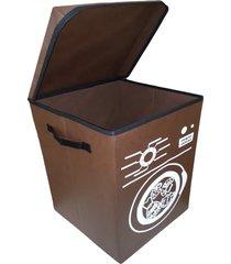 cesto para roupa suja organibox lavanderia - marrom