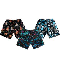 kit 3 shorts  praia ks estampado microfibra bolsos laterais ref.386 multicolorido