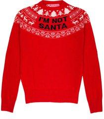 mc2 saint barth christmas red woman sweater im not santa blue print - xmas collection