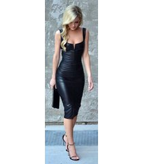 new women sexy genuine lambskin leather evening cocktail ladies party dress-gd05