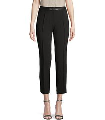 faux leather-trimmed cropped pants