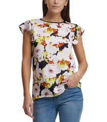 dkny floral-print flutter-sleeve mixed-media top