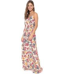 vestido frente única redley longo istambul bege/rosa - kanui