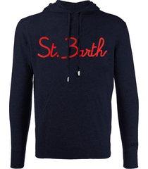 mc2 saint barth blue navy wool sweatshirt with hood