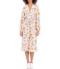 women's maggy london floral print long sleeve midi dress, size 10 - orange