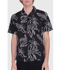 camisa ellus guayabera full print guarana flower negro - calce regular