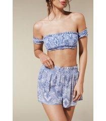 calzedonia fabric shorts woman blue size s