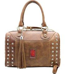 bolso de cuero marrón leblu baúl