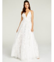 aidan by aidan mattox floral embroidered mesh gown