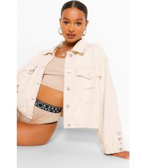 boxy crop jean jacket, ecru