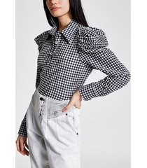 river island womens white gingham long puff sleeve shirt bodysuit