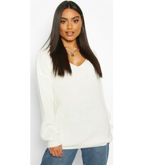 oversized fisherman v neck sweater, ivory