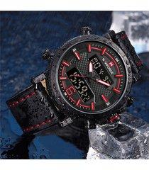 orologi da polso da uomo cronografo con cinturino in pelle con doppio display digitale naviforce 9135