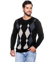 suéter officina do tricô losango preto