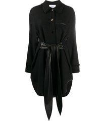 nanushka frayed shirt dress - black