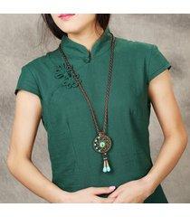 collana etnica rotonda nappa collana lunga lega per le donne