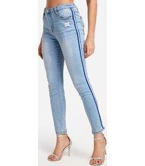 sky azul rasgado al azar detalles flaco jeans