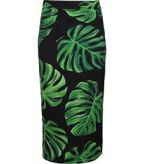 dolce & gabbana black and green silk blend pencil skirt