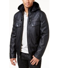 inc men's faux leather hooded bomber jacket, created for macy's