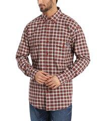 wolverine men's fr plaid long sleeve twill shirt dark red plaid, size xxl