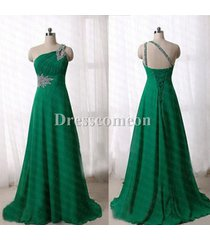 sexy one shoulder beads green lace up back longchiffon prom/party/evening dress