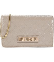 love moschino women's quilted crossbody bag - grey