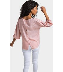 andria button back blouse - blush