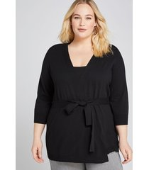 lane bryant women's belted cardigan 14/16 black