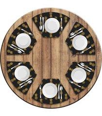 jogo americano   para mesa redonda wevans abacaxis kit com 6 pçs  love decor