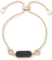 dkny gold-tone pave circle & jet resin slider bracelet