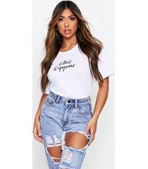 chic happens micro slogan t-shirt, white