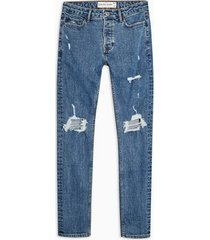mens blue mid wash blowout stretch skinny jeans